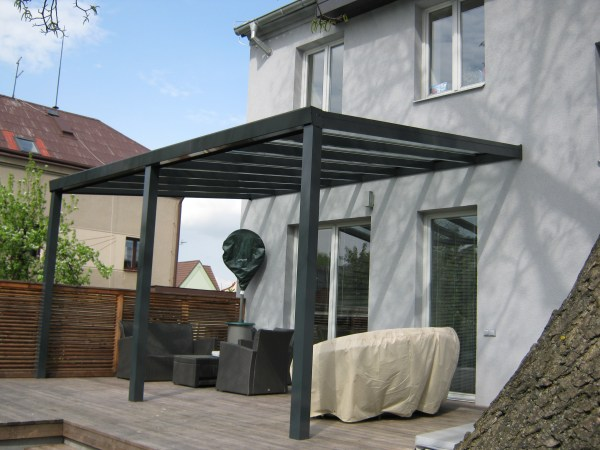 Pergola antracit RAL 7016 300 x 300 cm provedení DELUXE